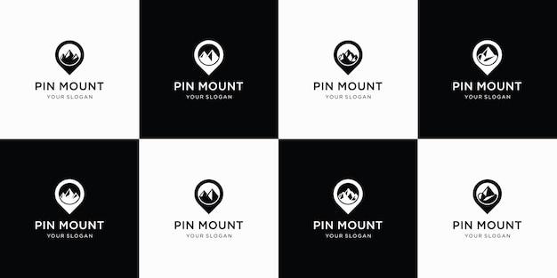 Colección de mapas de pines y diseño de montañas