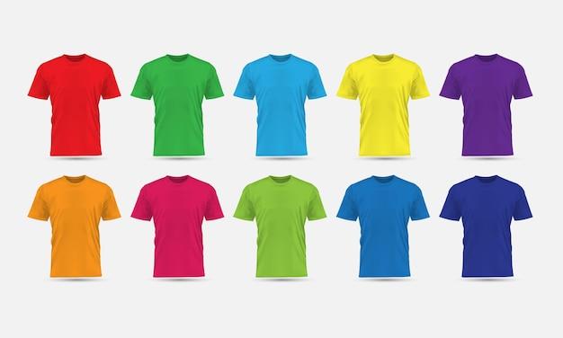 La colección de maquetas en blanco de vista frontal de color carne de camiseta vectorial realista establece ilustración de fondo gris.