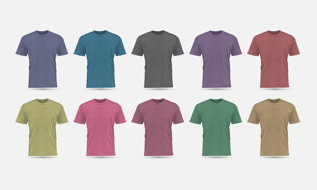 La colección de maquetas en blanco de vista frontal de color pastel de camiseta vectorial realista establece ilustración de fondo gris.