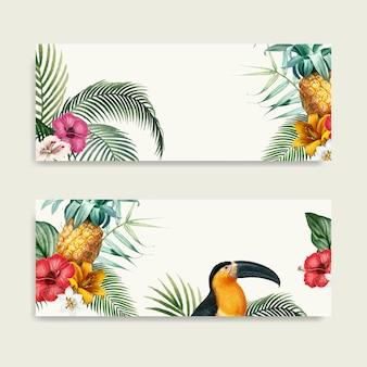 Colección de maquetas de follaje de guacamayos.