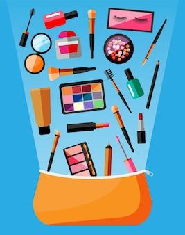 Colección de maquillaje en bolsa. conjunto de cosmética decorativa. tienda de maquillaje. varios pinceles, perfumes, rímel, brillo, polvos, pintalabios y rubor. belleza y moda. ilustración de vector plano de dibujos animados