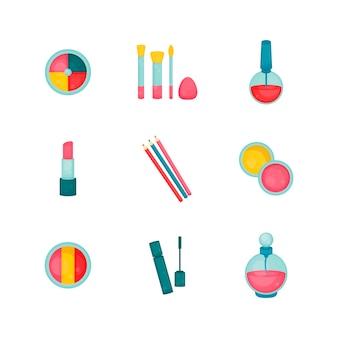 Colección de maquillaje set de belleza y moda pinceles de sombra de ojos esmalte de uñas lápiz labial delineadores de ojos botella de perfume rímel