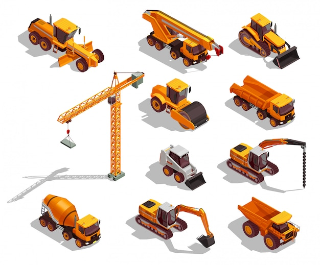 Colección de maquinaria de construcción amarilla isométrica