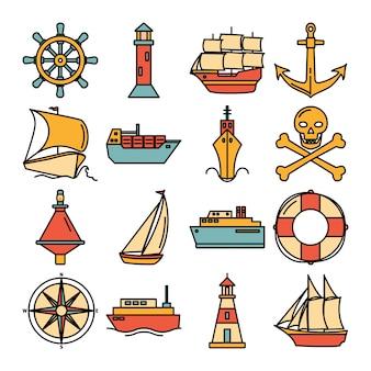Colección mar de iconos de barco