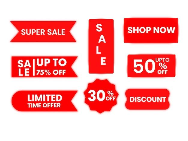 Colección de marcador de venta rojo, pegatinas con oferta de descuento sobre fondo blanco.