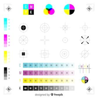 Colección marcadores calibración cmyk