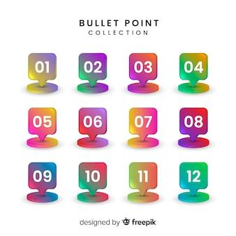 Colección de marcadores coloridos en 3d