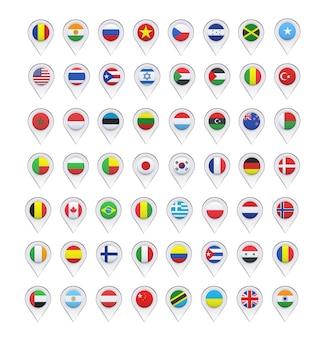 Colección de marcadores con diseño de banderas