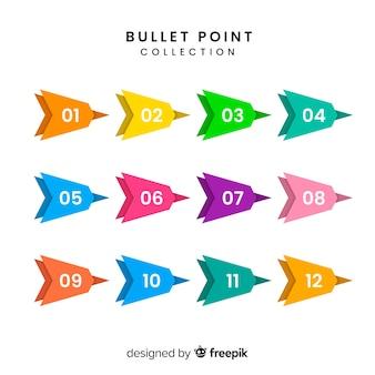 Colección de marcadores de flecha en diseño plano