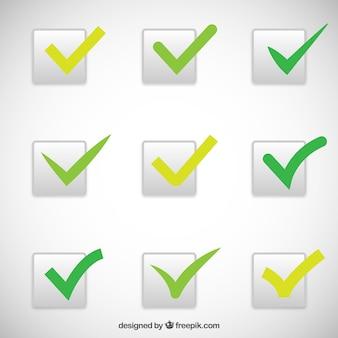 Colección de marcas verdes de verificación