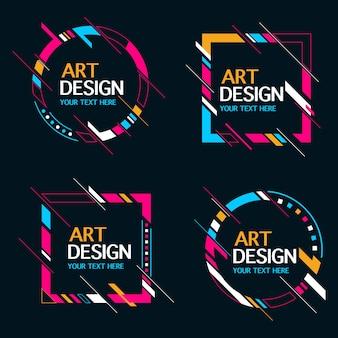 Colección de marco de banner de forma abstracta