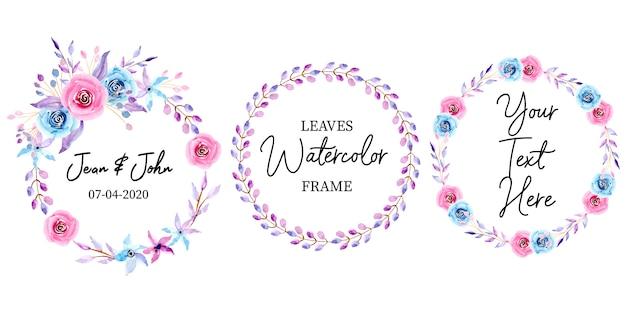 Colección de marco de boda floral acuarela