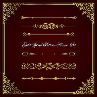 Colección de marco y borde de patrón de espiral dorado.
