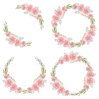 Colección de marco de círculo de flor de clavel rosa acuarela