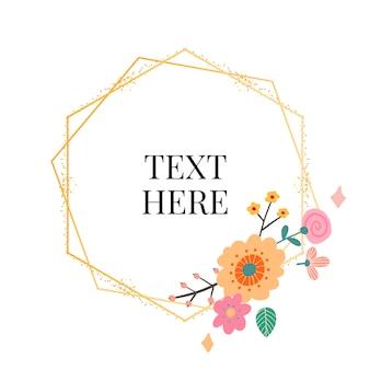 Colección marco floral. conjunto de lindas flores retro dispuestas en forma de corona perfecta para invitaciones de boda y tarjetas de cumpleaños