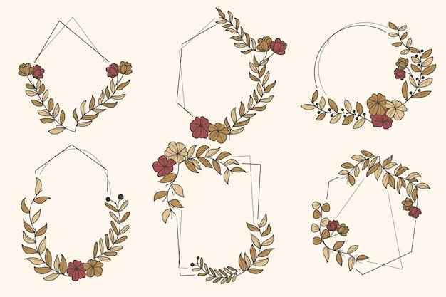 Colección de marco floral vintage dibujado a mano