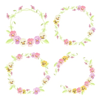 Colección de marco de guirnalda de flores de pensamiento colorido acuarela aislado sobre fondo blanco