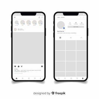 Colección marco instagram realista en teléfono