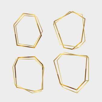 Colección de marco poligonal dorado