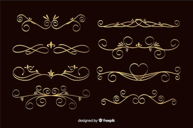 Colección de marcos de adornos dorados
