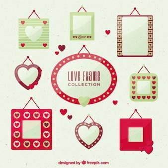 Colección de marcos de amor en diseño plano
