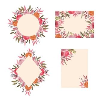 Colección de marcos de boda con flores estilo acuarela