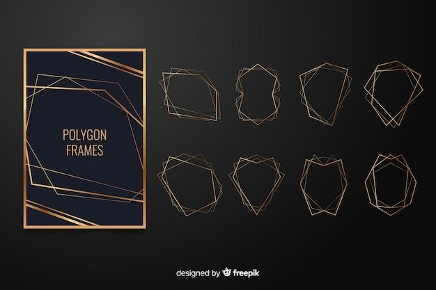 Colección de marcos de boda poligonales dorados
