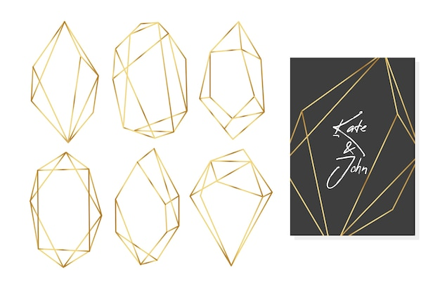 Colección de marcos de boda con polígonos dorados