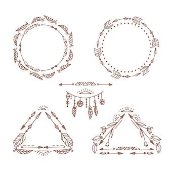 Colección de marcos boho dibujados a mano