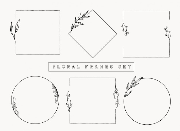 Colección de marcos y bordes florales.