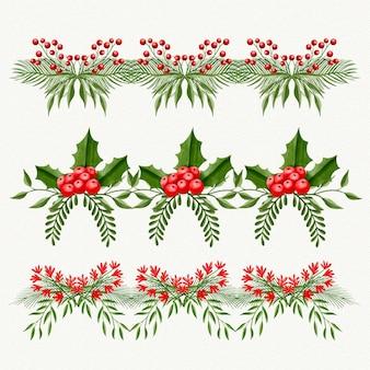 Colección de marcos y bordes navideños en acuarela