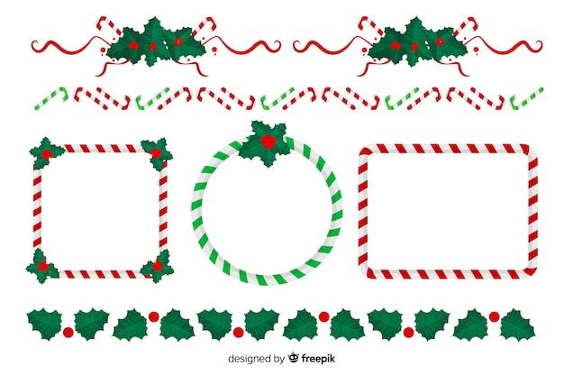 Colección de marcos y bordes navideños de diseño plano