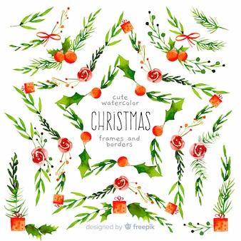 Colección de marcos y bordes navideños