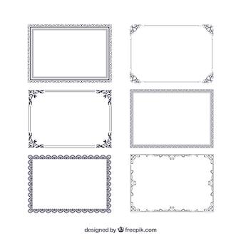 Colección de marcos de certificado con ornamentos