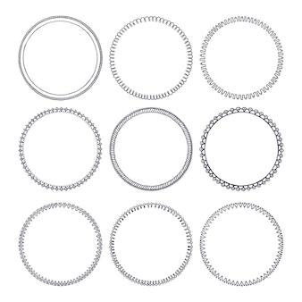 Colección de marcos circulares doodle dibujados a mano