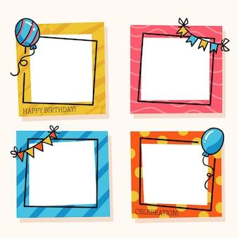 Colección de marcos de collage de cumpleaños dibujados a mano
