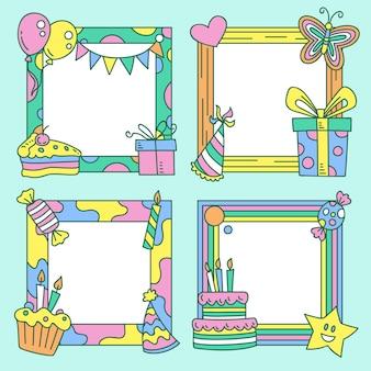 Colección de marcos de collage de cumpleaños dibujados a mano vector gratuito