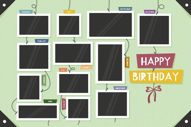 Colección de marcos de collage de cumpleaños de diseño plano