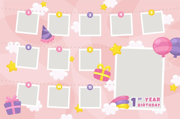 Colección de marcos de collage de cumpleaños en diseño plano