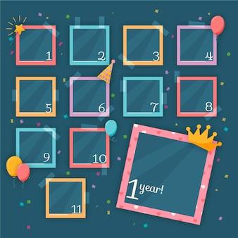 Colección de marcos de collage de cumpleaños planos