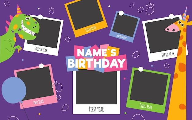 Colección de marcos de collage de cumpleaños