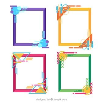 Colección de marcos coloridos con estilo geométrico