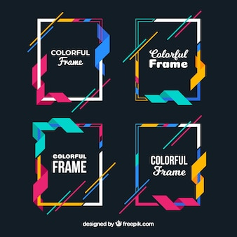 Colección de marcos coloridos con figuras geométricas