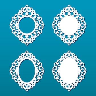 Colección de marcos de corte láser. conjunto de marcos ovales y redondos abstractos con remolinos, adornos, marco vintage. puede usarse para corte por láser. marcos de fotos con encaje para corte de papel.