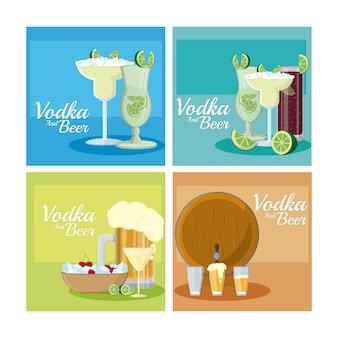 Colección de marcos cuadrados de vodka y cervezas