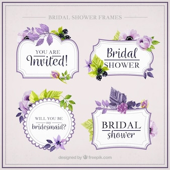 Colección de marcos de despedida de soltera bonitos con flores moradas