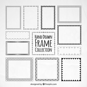 Colección de marcos dibujados a mano decorativos