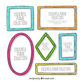 Colección de marcos dibujados a mano con estilo colorido