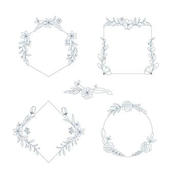 Colección de marcos dibujados a mano con flores
