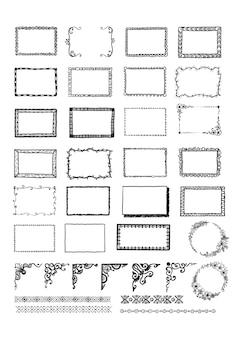 Colección de marcos dibujados a mano